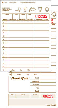 Picture of item 196-101 a GuestChecks™.  Three Part Carbonless.  15 Lines.  Tan.