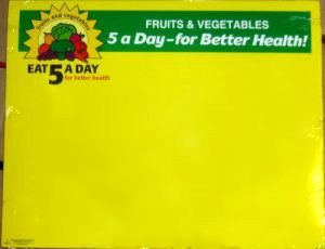 Picture of item 285-401 a SIGN 5X7 PRODUCE 5-A DAY 100/PK.