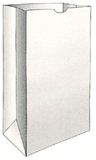 "Picture of item 310-228 a Grocery Sack.  White Color.  1/6 Barrel.  12"" x 7"" x 17"".  60 lb. Kraft Paper."