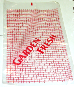 "Picture of item 320-125 a Produce bag. 9.5 X 16. 1.25mil. Printed ""Garden Fresh."""