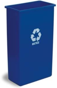 "Picture of item 561-119 a Wall Hugger™ Recycling Receptacle.  23 Gallon.  11-1/2"" x 19-3/4"" x 30-1/2"" Tall.  Blue Color with Recycle Logo."