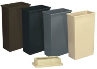 "Picture of item 561-135 a Wall Hugger™ Receptacle.  23 Gallon.  11-1/2"" x 19-3/4"" x 30-1/2"" Tall.  Black Color."
