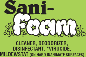 Picture of item 604-202 a Sani Foam.  Hospital Disinfectant Cleaner.  Eliminate and prevent mold and mildew.  18.5 oz. Aerosol.