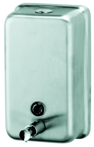 "Picture of item 672-104 a Rectangular Soap Dispenser.  Vertical Liquid.  40 oz. Capacity.  4-13/16"" x 8-3/16"" x 2-11/16"".  Stainless Steel."
