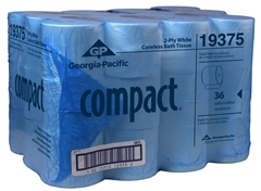 "Picture of item 887-512 a Compact® Coreless 2-Ply Bathroom Tissue.  EcoLogo Certified.  3.85"" x 4.05"".  1,000 Sheets/Roll."