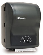 Picture of item 888-510X a Silhouette® OptiServ™ Hands-Free Controlled-Use Roll Towel Dispenser.  Black Translucent.