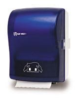 Picture of item 974-173 a Silhouette® OptiServ™ Hands-Free Controlled-Use Roll Towel Dispenser.  Blue Translucent.