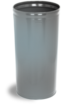 Picture of item 561-128 a Round Commercial Plastic Wastebasket.  80 Quart.  Gray Color.  Fire Resistant, Dent Resistant.