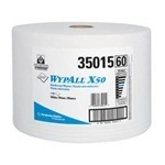 "Picture of item 357-105 a WYPALL* X50 Wipers.  Jumbo Roll.  9.8"" x 13.4"" Wiper.  White Color.  1,100 Wipers/Roll."