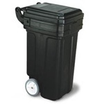 "Picture of item 562-182 a Tilt-N'-Wheel™ Receptacle with Hinged Lid.  50 Gallon.  23"" x 27-1/4"" x 41"".  Black Color."