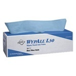 "Picture of item 874-406 a WYPALL* L30 Wipers.  16.4"" x 9.8"".  Blue Color.  100 Wipers/Pop-Up Box."