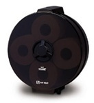 Picture of item 888-502 a Silhouette® Wagon Wheel® 4-Roll Controlled-Use Bath Tissue Dispenser.  Black Translucent.