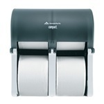 Picture of item 971-704 a Compact® Vertical Four Roll Coreless Tissue Dispenser.  Translucent Smoke.