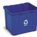 Picture of item 972-912 a Curbside Recycling Bin.  14 Gallon.  Blue Color.  Holes in bottom of bin prevent accumulation of rainwater.