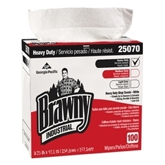 "Picture of item 967-048 a Brawny Industrial® Heavy Duty Shop Towels (Tall Dispenser Box).  9.1"" x 16.5"" Towel.  White Color.  100 Wipers/Box."