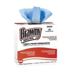 "Picture of item 969-768 a Brawny Industrial® High Performance Shop Towels.  9.25"" x 16.8"" Wiper.  Blue Color.  100 Wipers/Box."