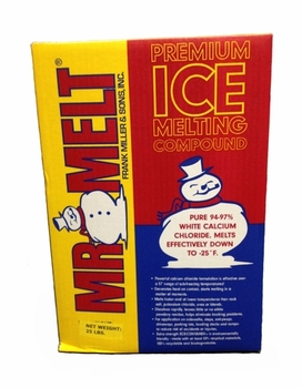 Picture of item 625-102 a Mr Melt Ice Melt.  Premium Ice Melting Compound.  94%-97% Calcium Chloride. 25 lb. Box.