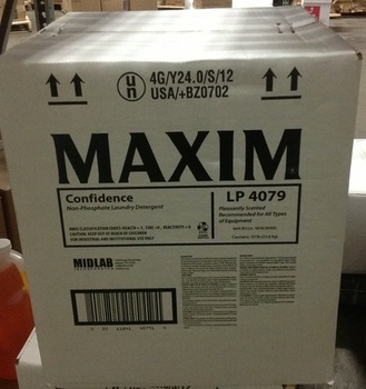 Picture of item 620-802 a MAXIM® Confidence Non-Phosphate Laundry Detergent.  50 lb. Box.