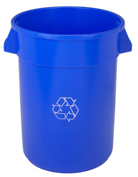 "Picture of item 562-151 a Huskee™ Round Recycling Receptacle.  32 Gallon.  22"" Diameter x 27-3/8"" Tall.  Blue Color with White Recycle Message."