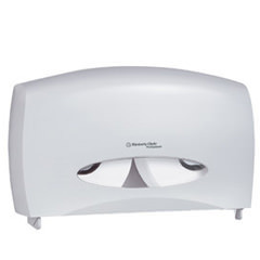 "Picture of item 967-387 a Kimberly Clark Professional* Windows* Cored JRT Combo Unit Bath Tissue Dispenser. White. 20.4"" x 5.8"" x 13.1."" Can be used with two JRT Junior rolls or one JRT Senior roll and a stub roll. Can be used with or without key."