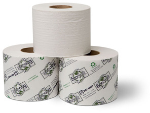 "Picture of item 887-619 a EcoSoft™ Controlled-Use Bath Tissue.  3-3/4"" x 4"".  1-Ply.  1,232 Sheets/Roll."