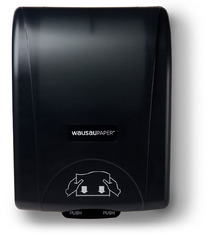 Picture of item 888-512 a Silhouette® OptiServ® Hands-Free Controlled-Use Roll Towel Dispenser.  Black Translucent Color.