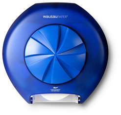 Picture of item 974-155 a Silhouette® Revolution™ 3-Roll OptiCore™ Bath Tissue Dispenser.  Blue Translucent.