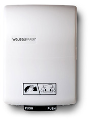 Picture of item 969-372 a OptiServ Hybrid® Hands-Free Controlled-Use Roll Towel Dispenser.  White Translucent Color.