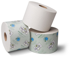 "Picture of item 974-877 a EcoSoft™ Green Seal™ Controlled-Use Bath Tissue.  3-3/4"" x 4"".  1-Ply.  1,755 Sheets/Roll.  Fits OptiCore™ Dispensers."
