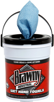 "Picture of item 871-140 a Brawny Industrial® Wet Hand Towel.  8.6"" x 12.2"".  Blue Color.  84 Wipes/Bucket."