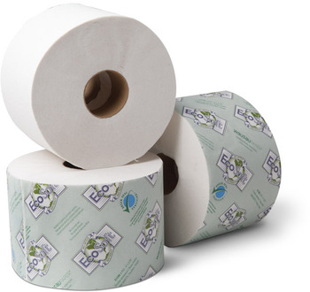 "Picture of item 887-620 a EcoSoft™ Green Seal™ Controlled-Use OptiCore™ Bath Tissue.  3-3/4"" x 4"".  2-Ply.  White Color.  865 Sheets/Roll."