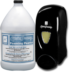 Picture of item 670-627 a Lite'n Foamy® Black Translucent Dispensers with Foaming PearLux® Intro Pack.