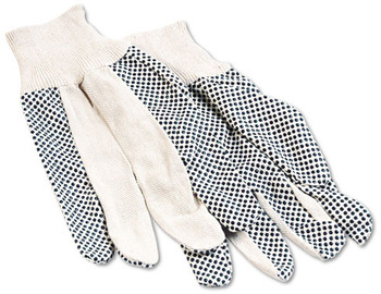 Picture of item BWK-8 a Boardwalk® Men's PVC Dotted Canvas Gloves, One Size, 12 Pairs