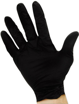 Picture of item IMP-8642L a Impact® ProGuard® Disposable Nitrile Gloves, Powder-Free, Black, Large, 100/Box