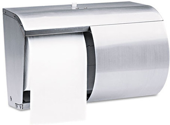 "Picture of item 971-172 a Coreless Double Roll Bath Tissue Dispenser.  10.1"" x 7.1"" x 6.4"".  Stainless Steel.  Holds two full standard rolls of coreless tissue."
