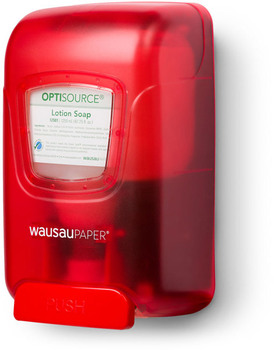 Picture of item 967-786 a OptiSource Convertible® Manual Soap Dispenser.  Red Color.  1,250 mL Capacity.